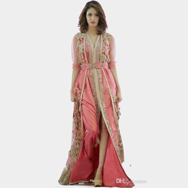 Розовое платье Марокко Турция Халаты 2020 Новое Высокое Качество Длинные Рукава Одежда Ткань в Дубай Исламские Одежда Вечерние Платья 134