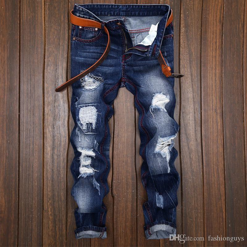 Compre Nueva Moda Agrietada Jeans Hombres Rompiendo La Marea Masculina Pantalones Vaqueros Rectas Hacen La Vieja Personalidad Original Vaquero Hombres Jovenes A 27 87 Del Fashionguys Dhgate Com