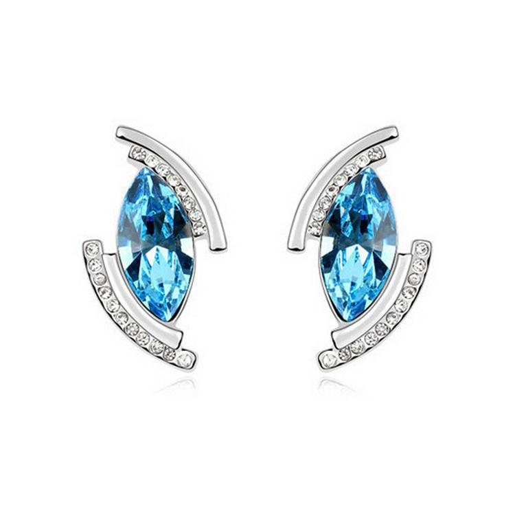 Austria Crystal Stud Earrings High Quality Eyes Shape Earrings For Women Best Gift Wedding Jewelry 8223