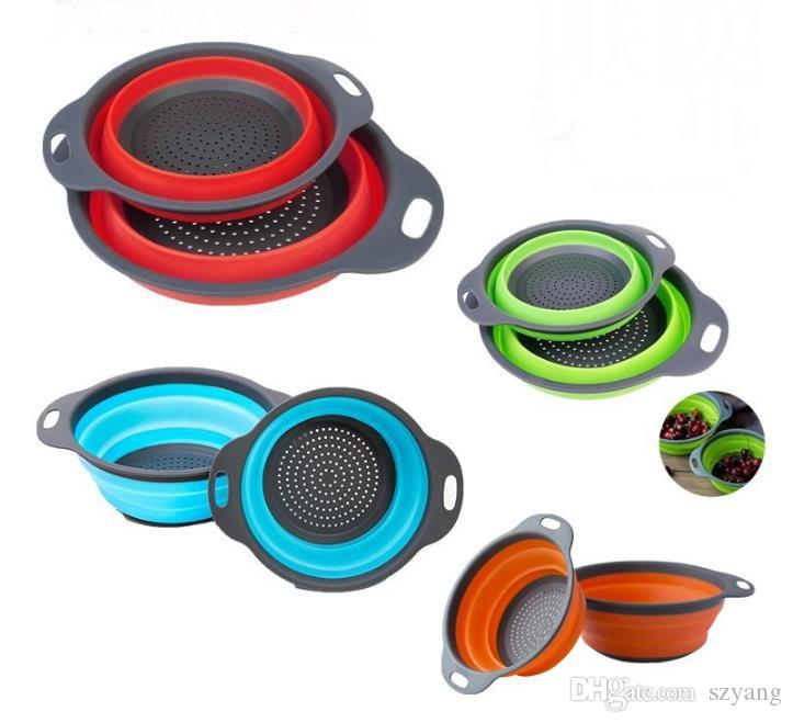2pcs/set Collapsible Silicone Colander Folding Mesh Colander Fruit Vegetable Strainer Home kitchen Accessories Tool