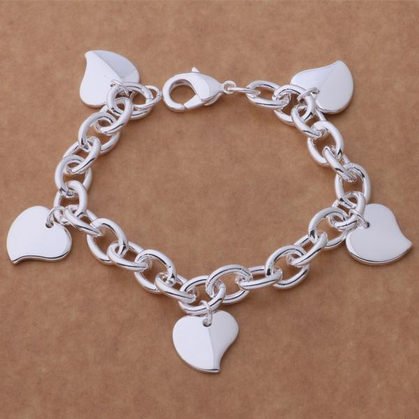 Factory price 925 sterling silver plated heart pendant charm bracelet fashion jewelry wedding gift for woman Top quality Free shipping