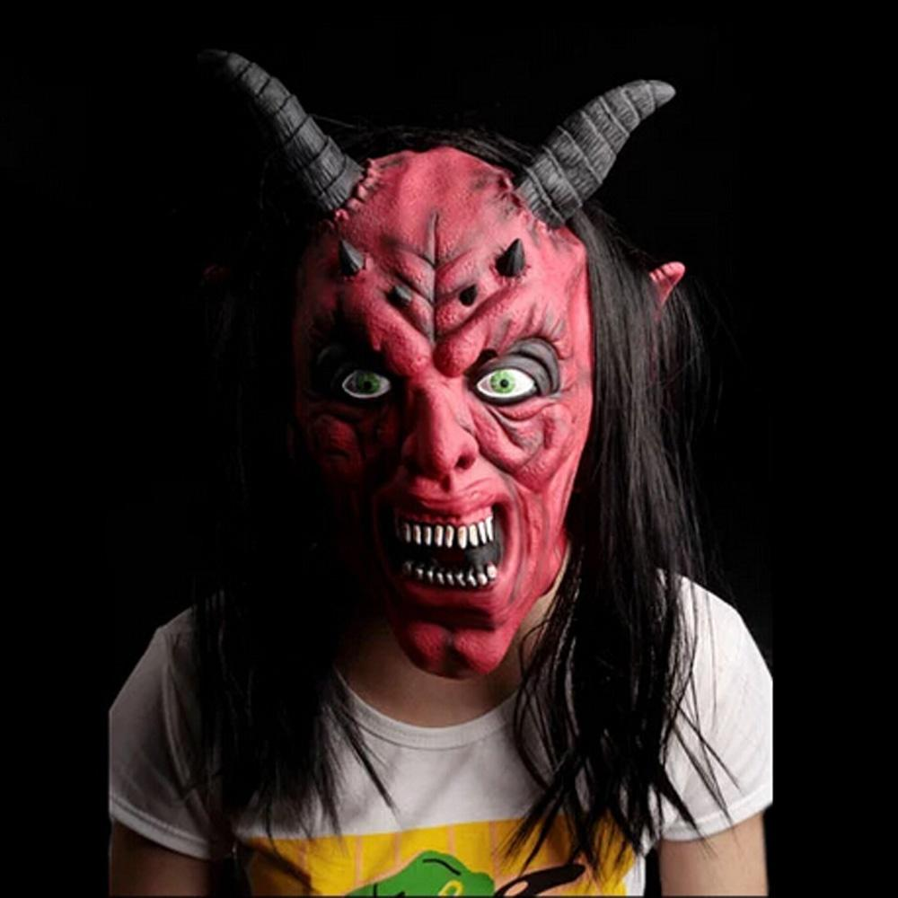 Red Silicone Latex Horror Ox Horn Devil Head Demon Face Full Head ...