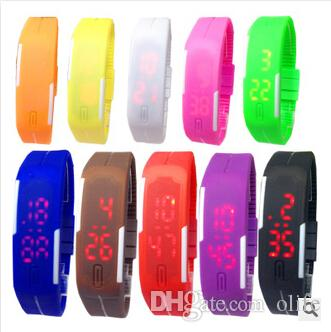 Colorful Waterproof Soft Led Touch Watch Jelly Candy Silicone Rubber Digital Screen Bracelet Watches Men Women Unisex Sports Wristwatch