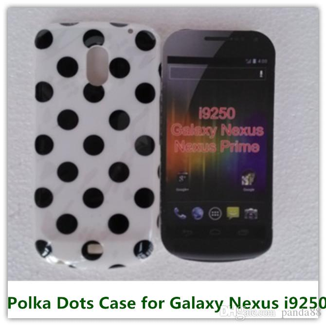 1 PCS Blanc À Pois Doux TPU De Bonbons Peau Étui De Couverture Arrière pour Samsung Galaxy Nexus i9250 Téléphone Sacs