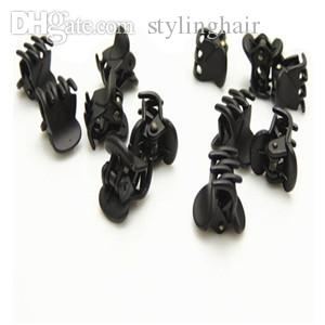 Wholesale-Fashion Designer Black Plastic Mini Hair Clips Hairpin Cliper Clamp With Pattern For Women