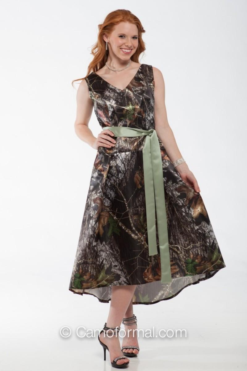 2015 Summer Camo Wedding Dresses Short Camo Prom Dress V Neck Tea-Length Camouflage Bridal Gowns Wedding Party Dresses with Satin Sash