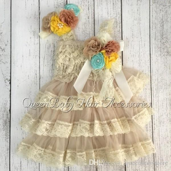 New Arrival Hot Selling Retail vintage Ivory Lace Infant Dresses Matching Headband and Broche Clip 1set/lot