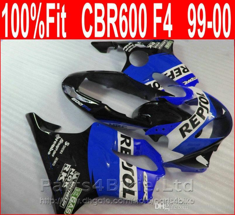 Perfect REPSOL blue Body parts Injection molding for Honda custom fairings CBR 600 F4 1999 2000 fairing kit CBR600 F4 99 00 DRXN