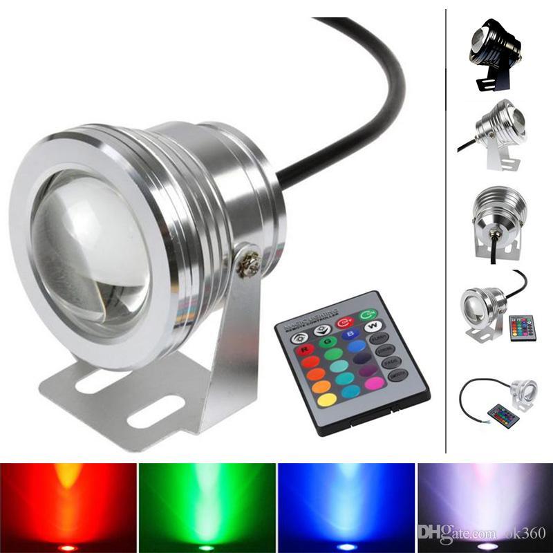10W RGB LED subacuática del reflector LED luces de inundación Piscina al aire libre a prueba de agua caliente / frío de la lámpara LED blanco paisaje Ronda de la luz 12V DC