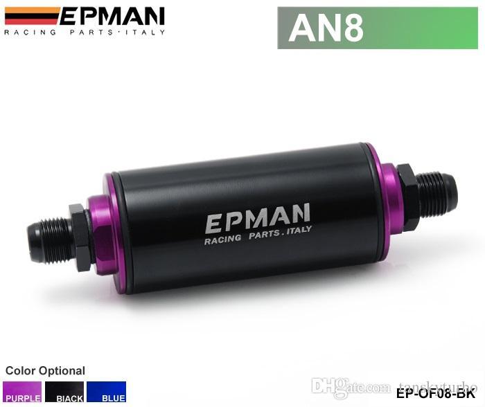 Tansky - EPMAN Fuel Filter عالمي 100 ميكرون الألومنيوم عالية التدفق وقود مضمنة البنزين سيارة شاحنة (AN8) EP-OF08