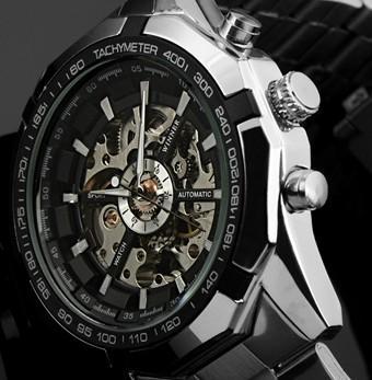 Zwycięzca Marka Luksusowy Sport Męski Automatyczny Szkielet Mechaniczny Wojskowy Watch Mężczyźni Srebrny Pełny Zespół Steel