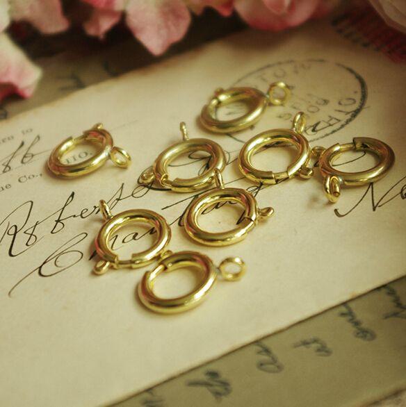 DIY Biżuteria Znalezienie Akcesorium Dla Kobiet Dokonywanie Fabryki Direct 6mm Mosiądz Zapięcie Sprężyna Klamra Klamra Wiosna Pierścień 10 Gross 1440 sztuk / partia YY000005
