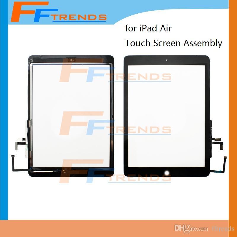 Высокое качество для iPad воздуха с сенсорным экраном дигитайзер с домашней кнопки Ассамблеи белый черный стекло сенсорная панель 5 шт. / лот Бесплатная доставка