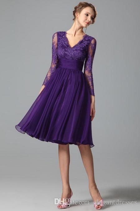 New Purple Party Dresses For Women With Long Sleeve Prom A Line ...