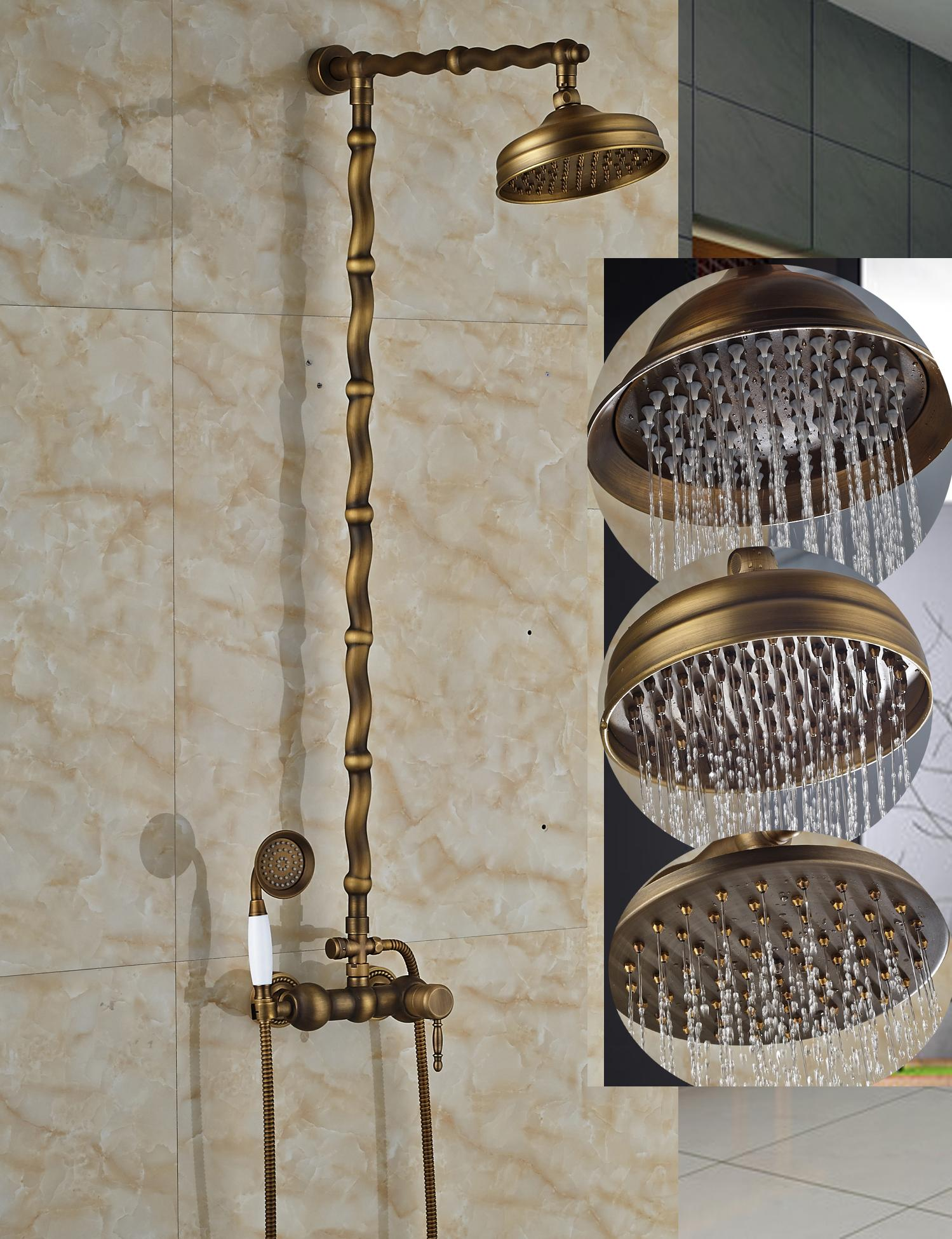 2019 Luxury Antique Brass Round Rain Shower Faucet Set Classic Bars Shower Mixer Tap Ceramic Hand Shower Sprayer From Gonglangno1 208 05