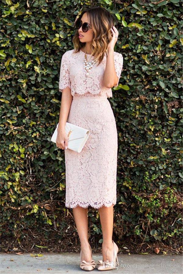 Chic 2 Piece Pink Cocktail Dress Short With 1/2 Sleeve Sheath Lace Evening Gowns Formal Women Special Occasion Graduation Dress Knee Length
