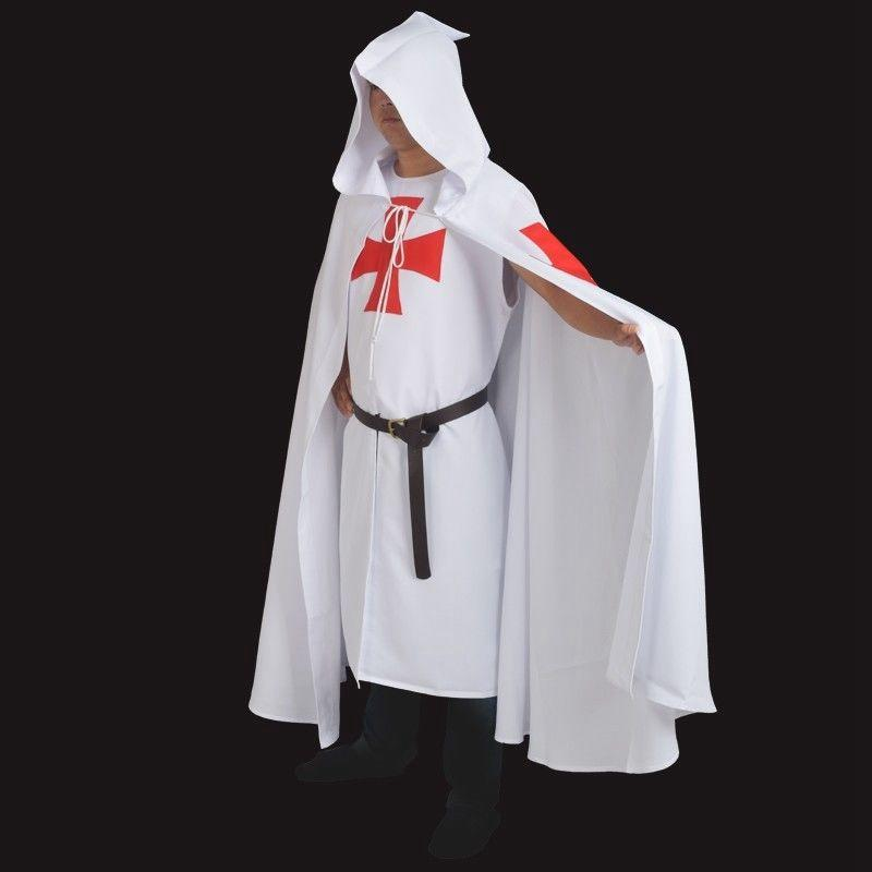 Retro Men MEDIEVAL WARRIOR LARP Outfits Cosplay Costume Templar Knights Tunic / CAPE Cross Cloak Cadeaux d'Halloween