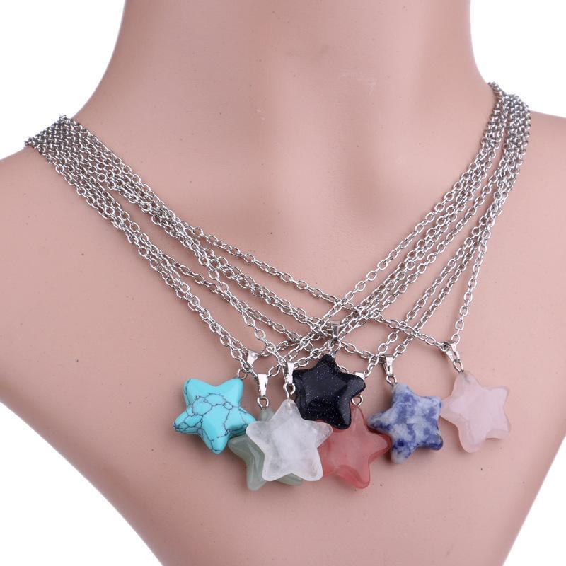 Мода женщины ювелирные изделия драгоценный камень горный хрусталь кварц чакра натуральный камень пятиконечная звезда очарование кулон ожерелье любителей