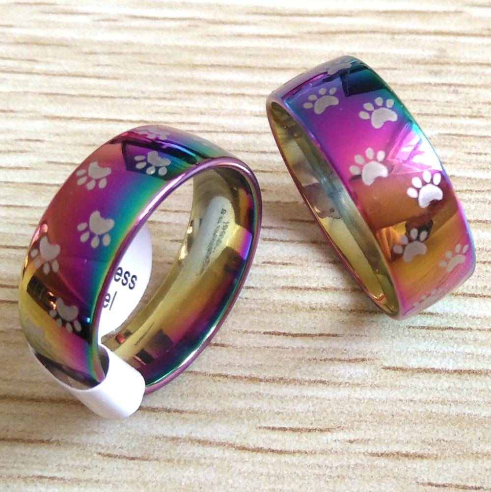 50pcs arcobaleno cane gatto zampa stampa anelli 8mm acciaio inossidabile 316l impronte anelli per gli uomini e le donne animale domestico gioielli regalo dell'amante