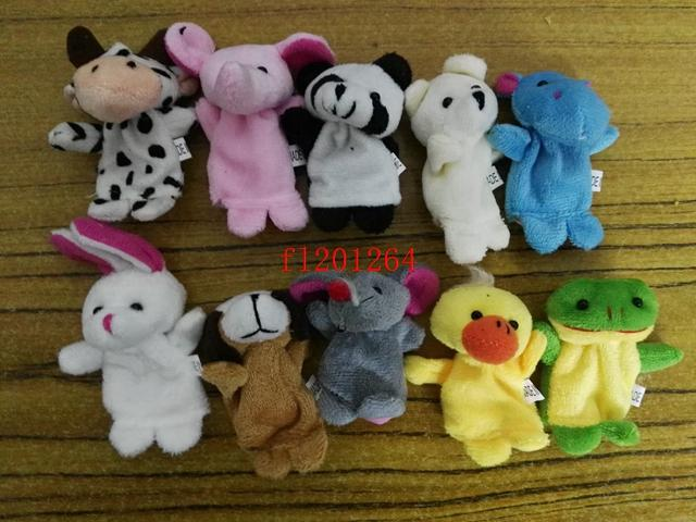 180pcs/lot DHL Free Shipping Lovely Baby Kids Plush Cartoon Doll Cute Animal Finger Puppets Educational Sleep Story Toys Set