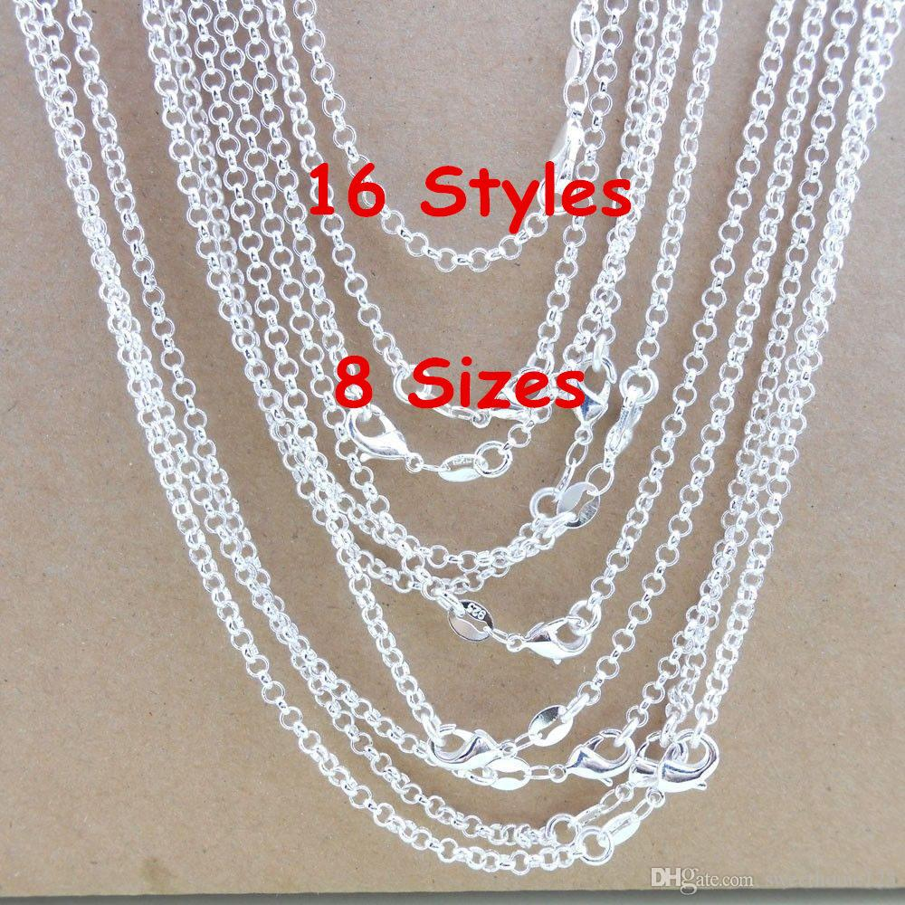 """Wholesale 925 Silver Plated Water Waves Chain Necklace Jewelry Gifts 16/""""-30/"""""""
