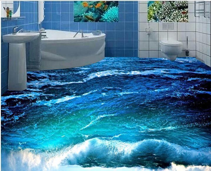 Personalizado foto papel de parede piso 3D 3D estereoscópico ondas do oceano piso 3d mural PVC papel de parede auto-aderência piso wallpaer 20157015