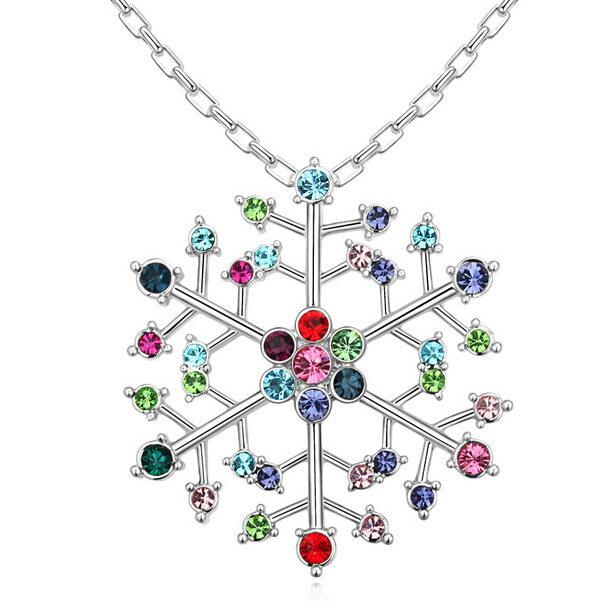 Swarovski Elements Crystal Snowflake Pendants Necklace Women 18K White Gold Plated Colorful Crystal Necklaces Fashion Brand Jewelry 14305