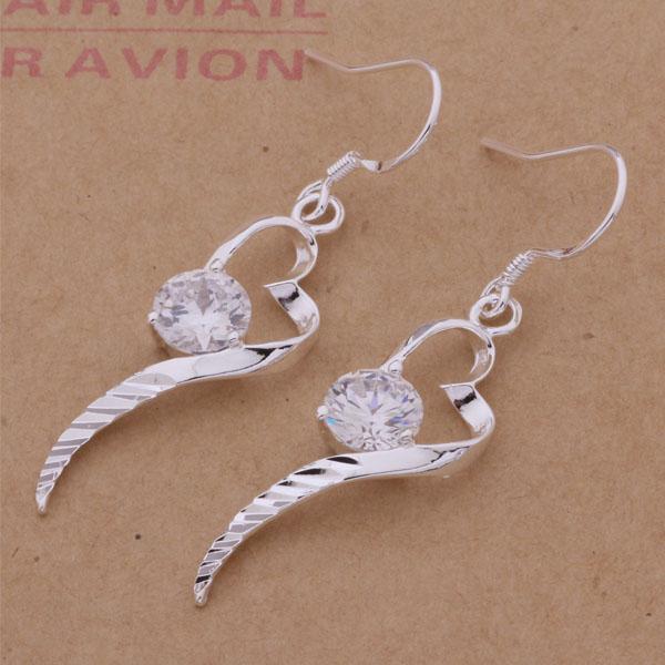 Moda (fabricante de joyas) 20 piezas mucho corazón de Nagao con pendientes de diamantes 925 fábrica de joyas de plata Moda brillo pendientes