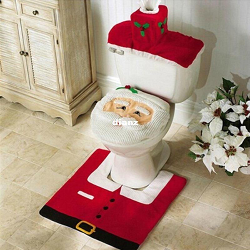 Happy Santa Toilet Seat Cover Rug Set da bagno Decorazioni natalizie