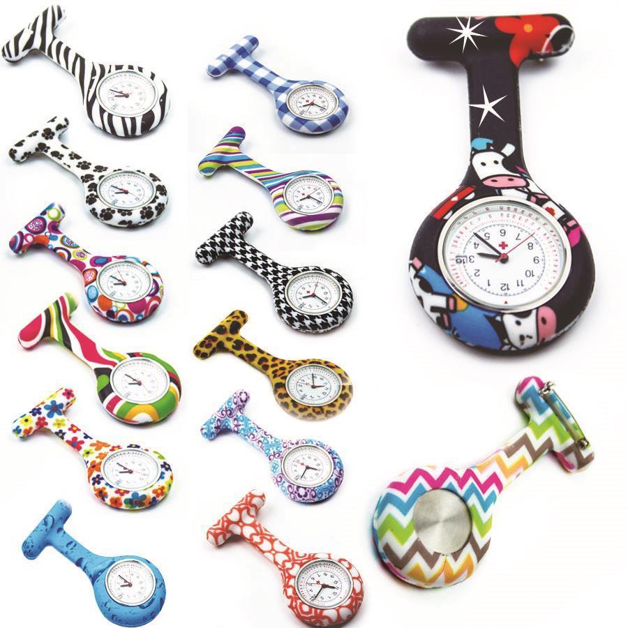 얼룩말 플라워 패턴 실리콘 간호사 시계 시계 주머니 시계 칼렌다 날짜 시계 병원 의사 간호 시계 계시기 고품질