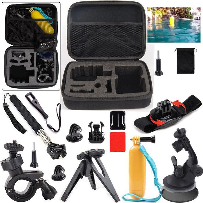 13 en 1 kit de montaje Handhel Bobber + M Tamaño Funda de transporte para SJCam Xiaoyi Sports Action Camera Accessories