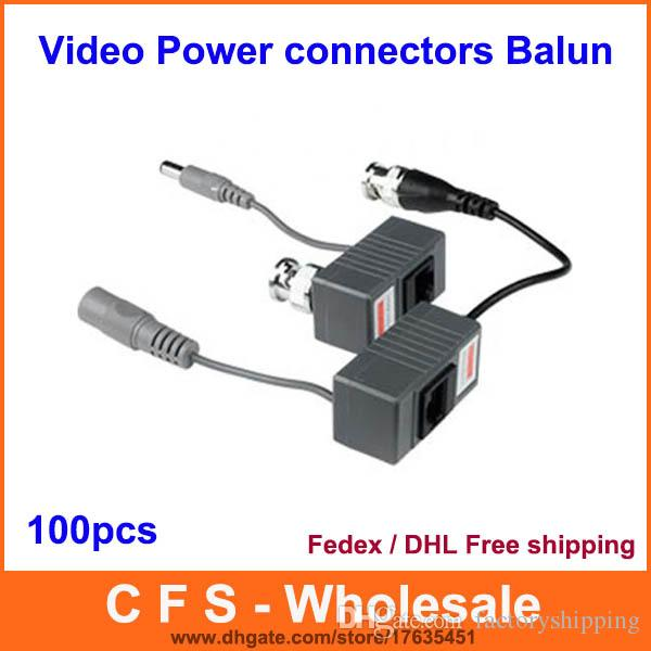100PCS 1CH Passive CCTV Video Power RJ45 connectors Video Balun for CCTV Camera DVR DHL Free Shipping