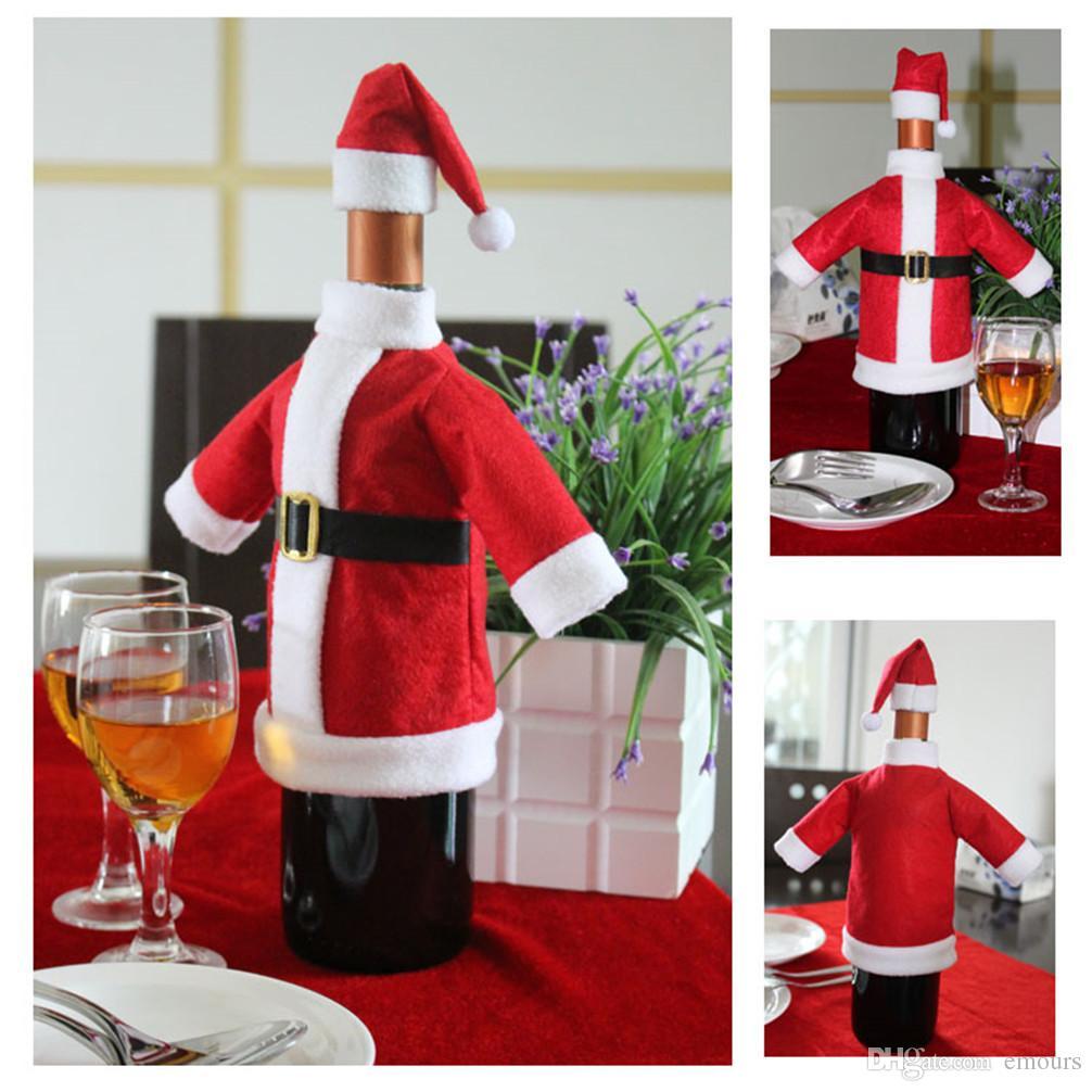 Garrafa de Papai Noel de Natal Covet Terno Chapéu Garrafa De Vinho Wrap Capa de Embalagem De Vinho Topper Bag Bolsa, 2 pcs Set
