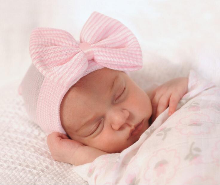 Newborn baby girl hat with bow newborn girl hospital hat beanie cap baby girl coming home outfit hat black white baby hats for girl