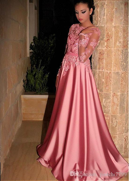 Bright Pink A Line Prom Dresses Long Sleeves Jewel Neck Evening ...