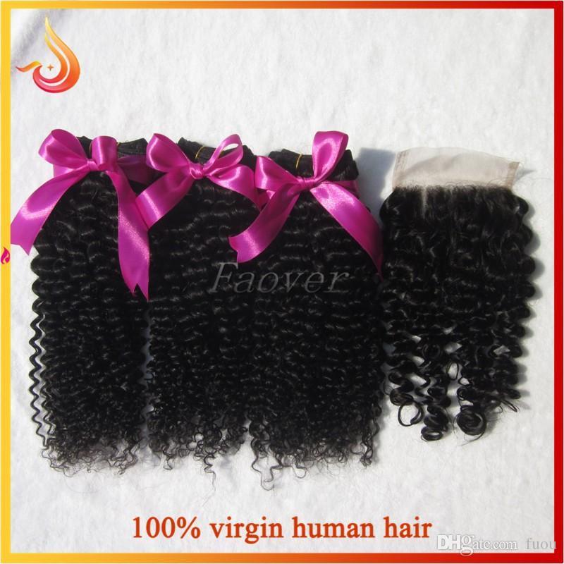 armadura virginal brasileña sin procesar rizado rizado rizado profundo del pelo humano de la onda con el cierre superior del cordón emparejado color natural envío libre
