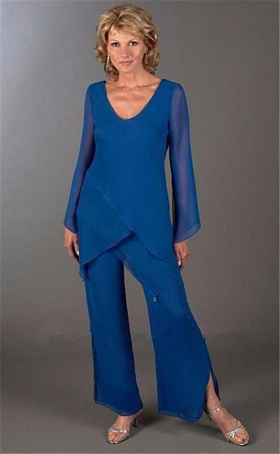 Latest Elegant Blue Mother Of The Bride Pant Suits Trousers with Long Sleeve Lady Summer Beach Wear Formal Suits for Women