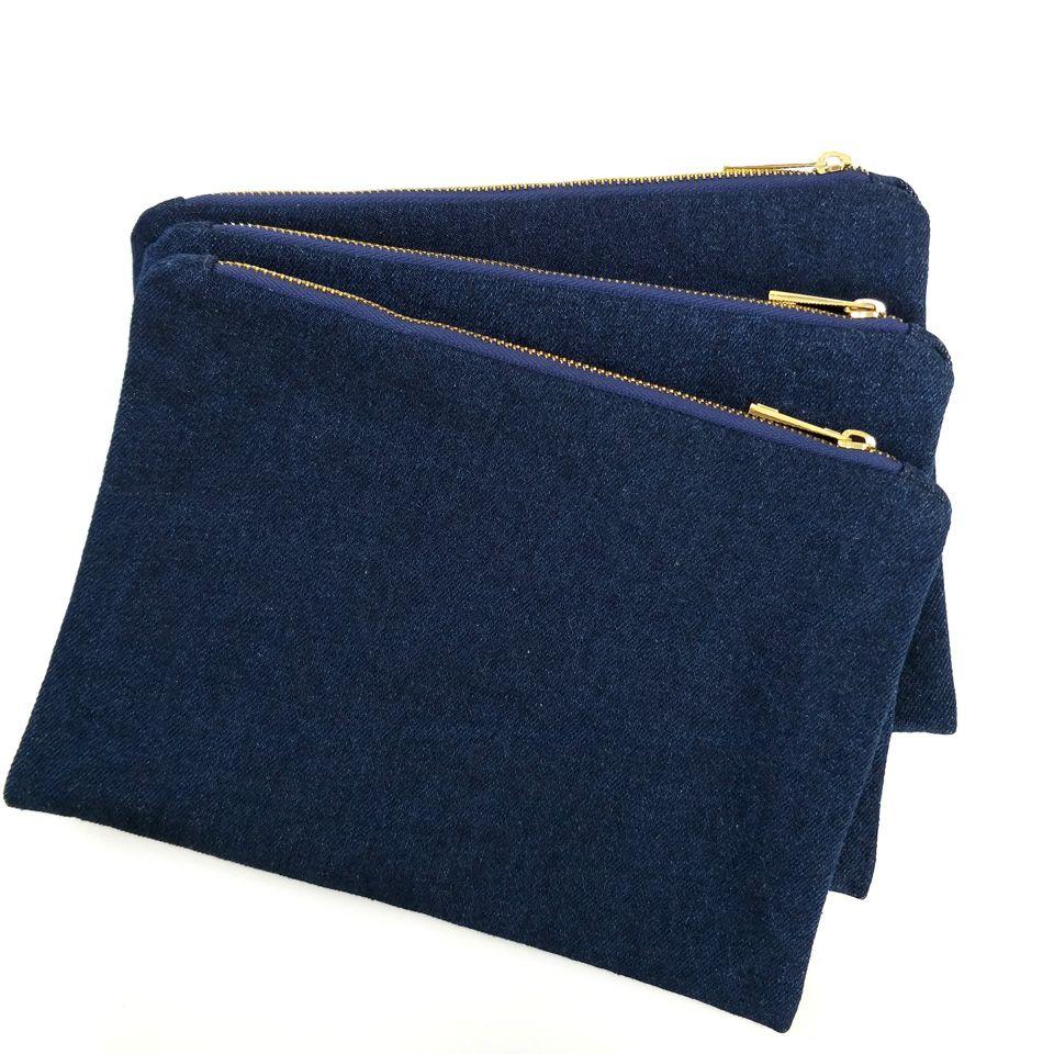 Sacchetto di trucco in denim spesso 14oz con cerniera in metallo dorato e vera borsa per il trucco del denim bianco blu scuro in fodera rossa spedita da DHL direttamente dalla fabbrica