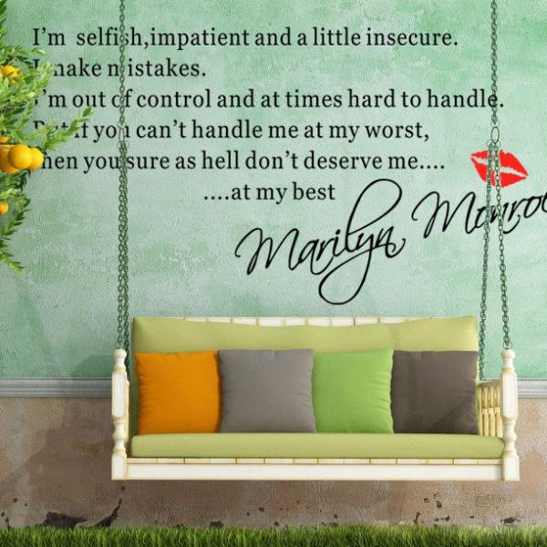 Quotable Wall Sticker English Proverbs Iu0027m Selfish Marilyn Monroe Wall  Decal Wall Stickers Art Part 73
