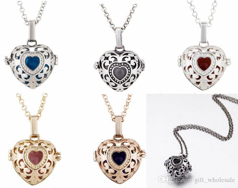 Harmony Ball Pregnancy Ball in Pendants 5 Colors Copper Metal Angel ball in Chain Necklaces Heart Shape
