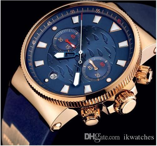 고품질 스타일의 남성 시계 석영 스톱워치 남성 크로노 그래프 블루 다이얼 손목 남성을위한 시계 UN11