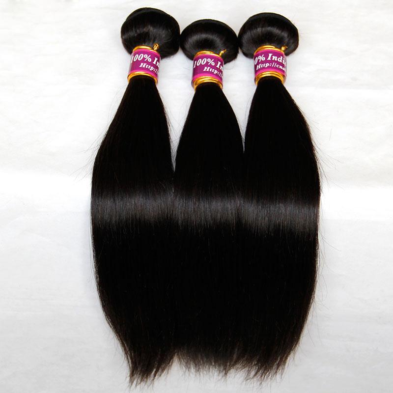 Hint Bakire Remy Saç Düz 3/4 Adet Lot Işlenmemiş Hint Ipeksi Düz İnsan Saç Dokuma Paketler Doğal Siyah Uzantıları Çift Atkı