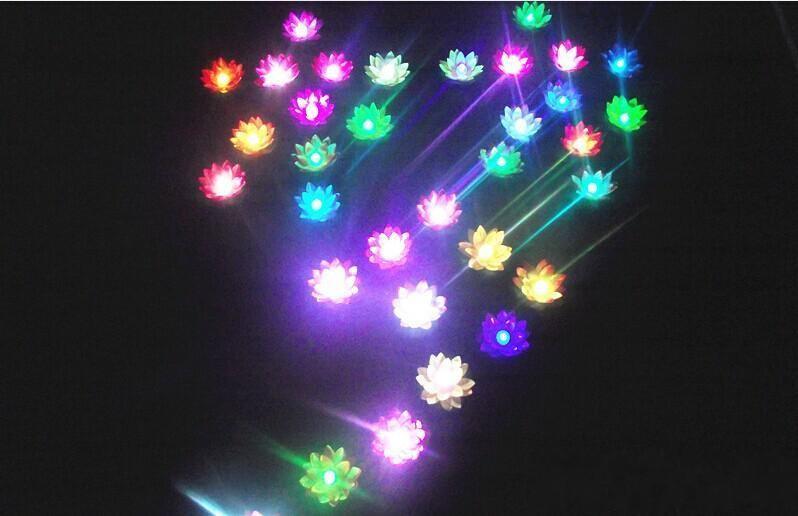 19 см Диаметр светодиодный цветок лотоса лампы в Красочные Изменен плавающей воды, Желая Свет Фонари Воды Для свадьбы Украшения поставок