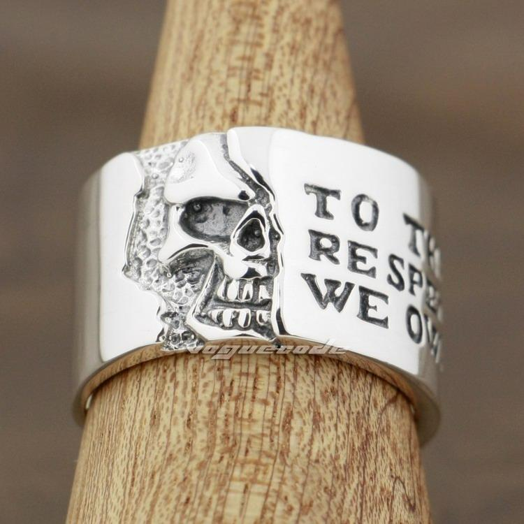 925 Sterling Silver Motto On Wide Skull Mens Rocker Punk Ring 8Y006 US 7.5~10 Free Shipping