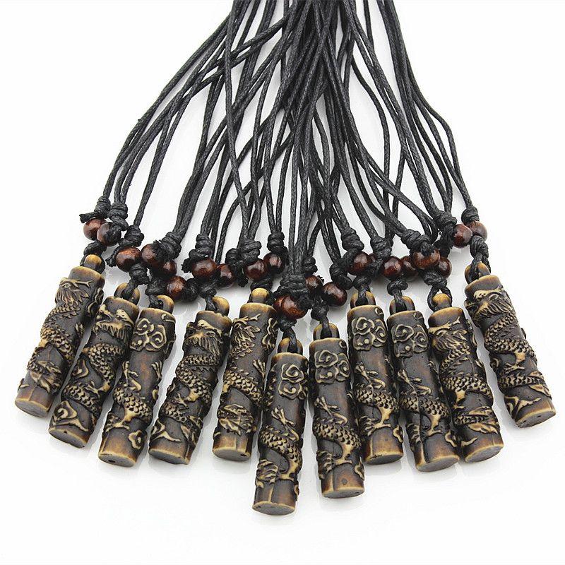 Wholesale 12pcs COOL Simulation Bone Carving Totem Dragon Pendant Wood Beads Amulet Pendant Necklace Lucky Gift MN112