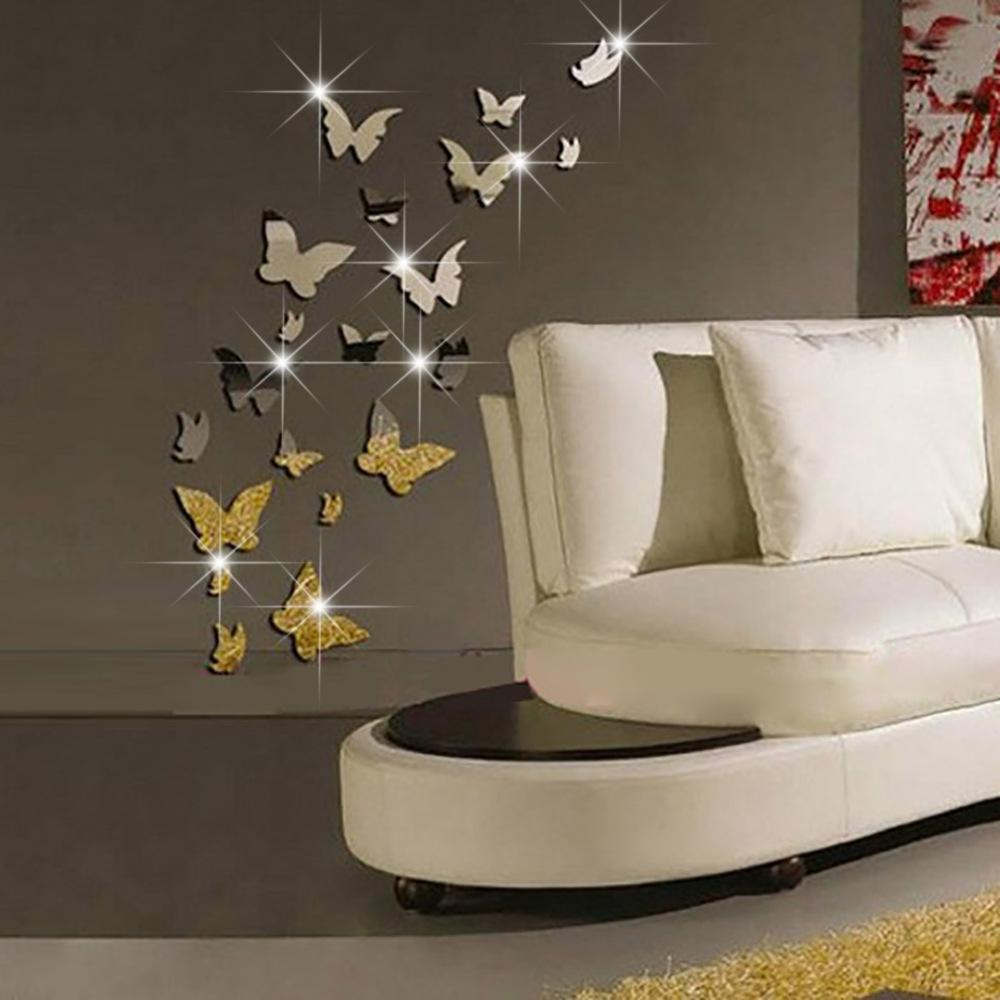 set 3d butterfly mirror effect wall decal sticker diy home decoration wall art decor sticker poster - Decorative Wall Art