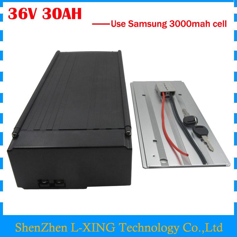 Free customs fee 36V 30AH ebike battery 36V 30AH lithium ion battery pack with tail light use samsung 3000mah cell 30A BMS