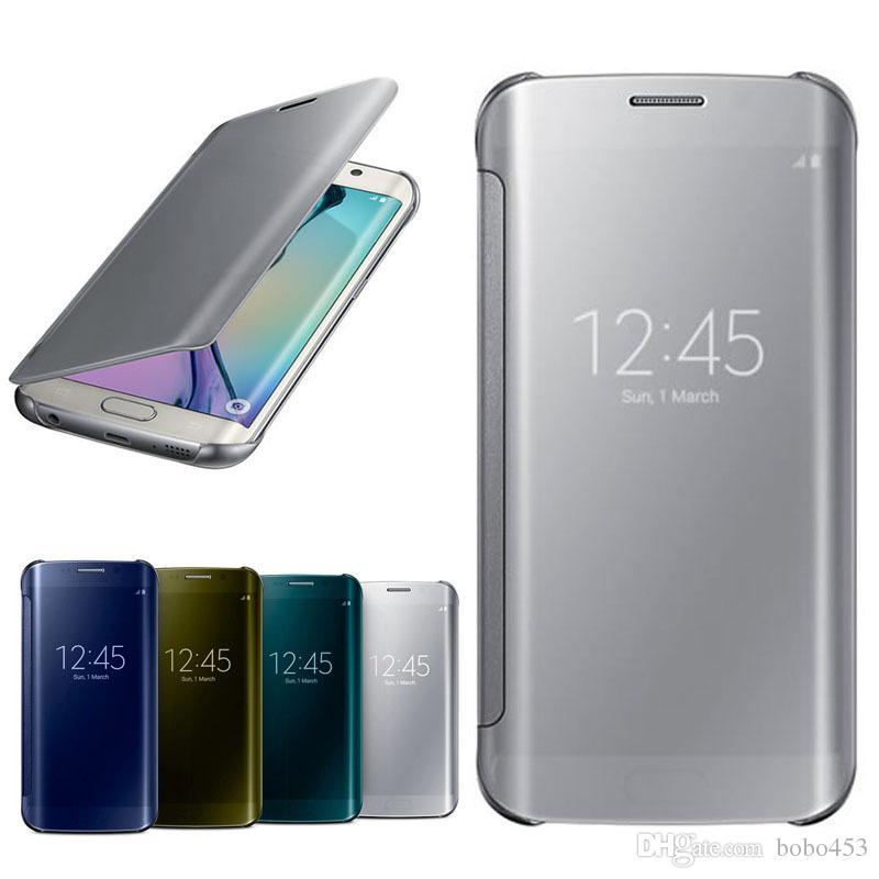 pretty nice 4e263 cbd16 Official Original Flip Smart Mirror Clear View Cover PC Transparent Phone  Case For Samsung Galaxy S6 S7 Edge Plus A5 A7 A8 A9 A520 A310 C3 J Best ...