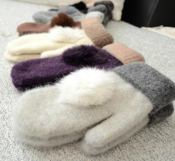 Woolen Gloves Warm And Soft Winter Ladies Mittens Solid Colors Grace Rabbit Fur Ball Double Layer Knitted Gloves Match Colors 30 pairs