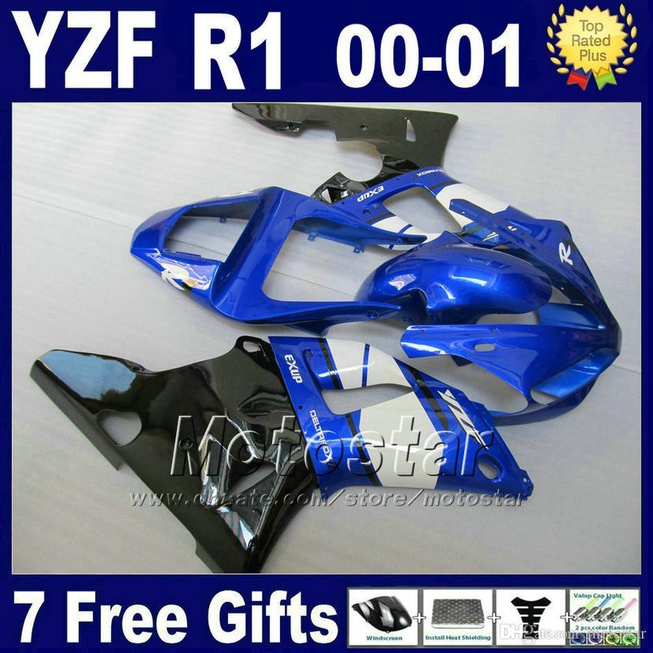 Bodykit لعام 2000 2001 YAMAHA R1 fairing kits 00 01 OEM اللون الأزرق YZF R1 fairings yzf1000 ABS أجزاء من البلاستيك + 7 هدايا G6O4